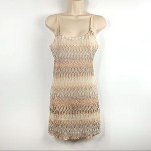 Free People Slip Dress Organic Print Pastels SZ M